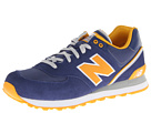 New Balance Classics ML574 Stadium Jacket Navy, Yellow Shoes