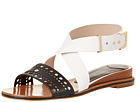 10 Crosby Derek Lam - Pilar (Black Nappa Perf/White Calf) - Footwear