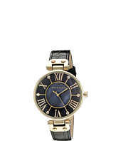 Anne Klein - AK/1396BMBK Black and Gold-Tone Leather Croco-Grain Strap Watch