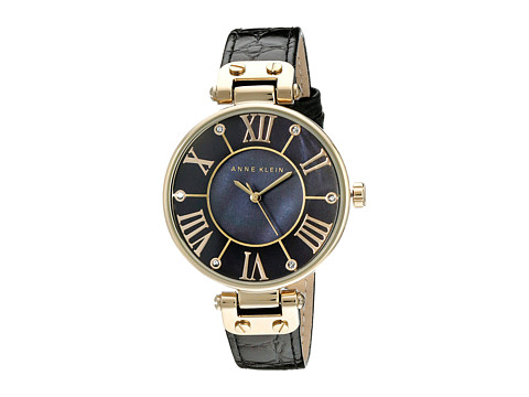 Anne Klein AK/1396BMBK Black and Gold-Tone Leather Croco-Grain Strap Watch