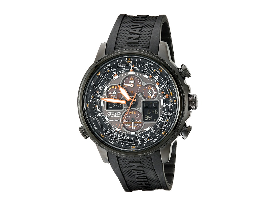 Citizen Watches - JY8035-04E Navihawk A-T Eco-Drive Perpetual Chrono Strap Watch (Black Ion Plated Stainless Steel) Chronograph Watches