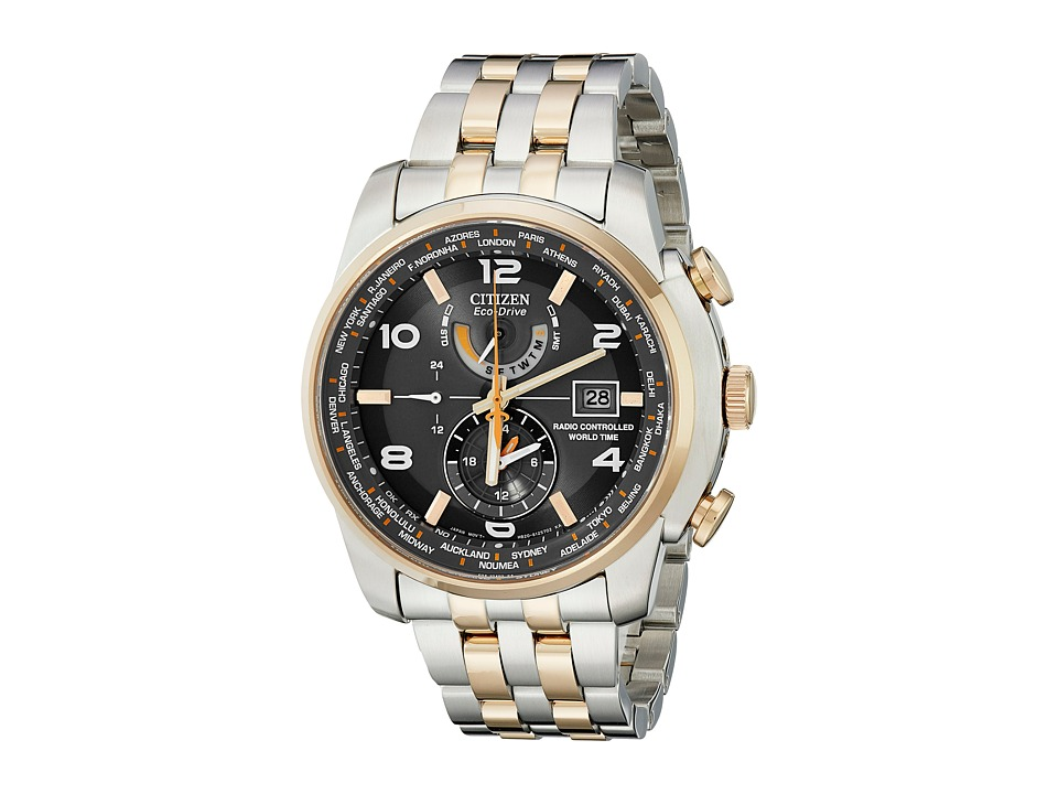Citizen Watches AT9016 56H World Time A T Eco Drive 26 Time Zones Watch Rose Gold Two Tone Stainless Steel Chronograph Watches