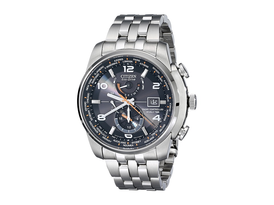 Citizen Watches AT9010 52E World Time A T Eco Drive 26 Time Zones Watch Silver Tone Stainless Steel Chronograph Watches