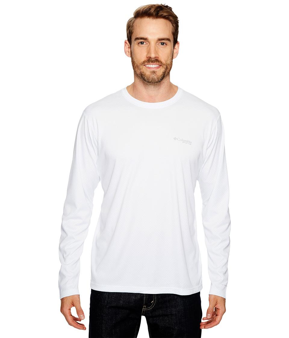 Columbia - PFG ZERO Rulestm L/S Shirt (White) Mens Long Sleeve Pullover