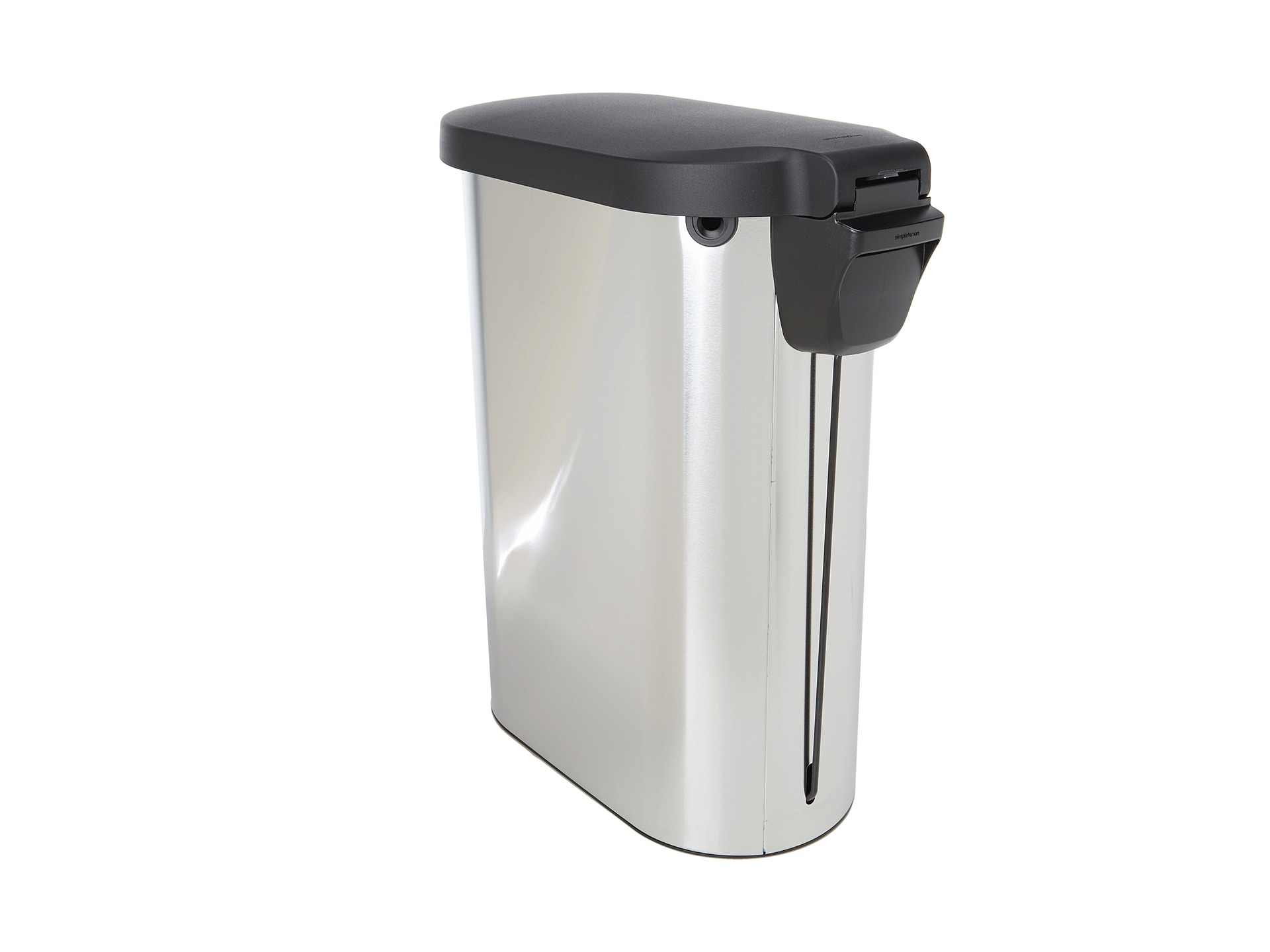 Simplehuman 45l slim step trash can w plastic lid fingerprint proof shipped free at zappos - Slim garbage cans for kitchen ...