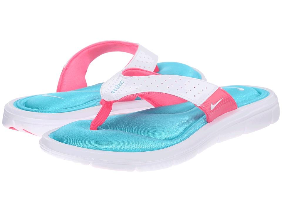Nike - Comfort Thong (White/Turquoise/Pink Flash) Women