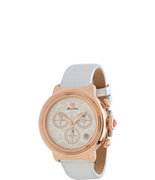 Glam Rock - 40mm Rose Gold Plated Chronograph Flower Applique Dial Watch with Silver Saffiano Leather Strap - GR77103