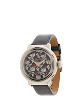Glam Rock - 40mm Stainless Steel Flower Applique Dial Watch with Black Patent Leather Strap - GR77021