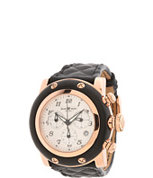 Glam Rock - 46mm Rose Gold Plated Chronograph Watch with Black Matelassé Leather Strap - GR11133