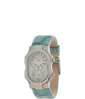 Philip Stein - Small Signature Stainless Steel Watch on Green Alligator Print Patent Strap