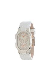 Philip Stein - Small Signature Stainless Steel Watch on White Metallic Ostrich Strap