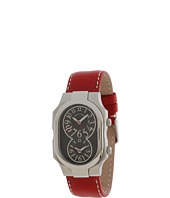 Philip Stein - Large Signature Stainless Steel Watch on Red Stitched Calf Strap