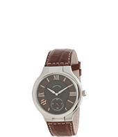 Philip Stein - Large Round Stainless Steel Watch on Dark Brown Stitched Alligator Strap