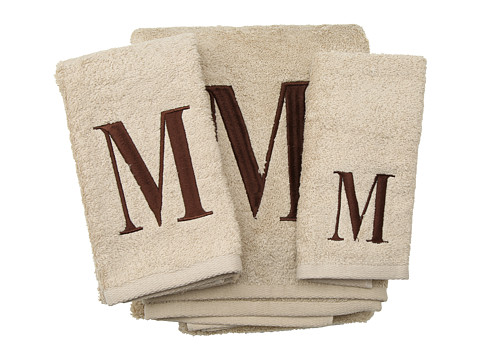 Avanti - Premier Monogram Towel Set - Letter M (Linen/Brown) - Home