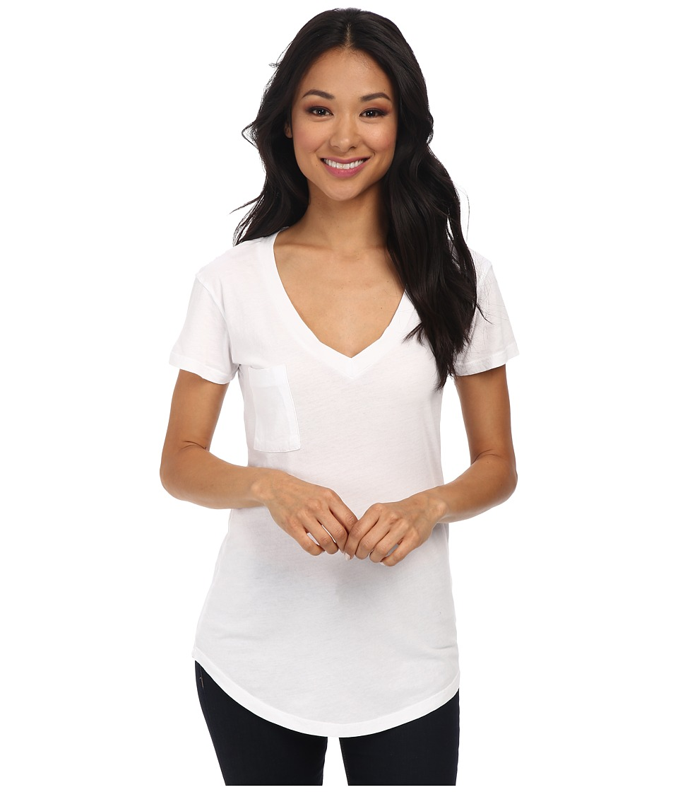 LAmade - V-Pocket Tee - Tissue Jersey (White) Womens Short Sleeve Pullover