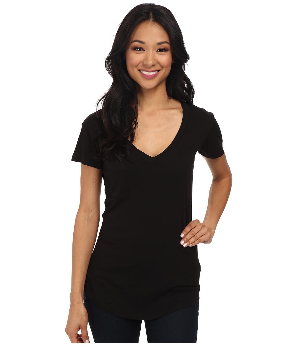 LA Made V-Pocket Tee - Tissue Jersey (Black) Women's Shor...