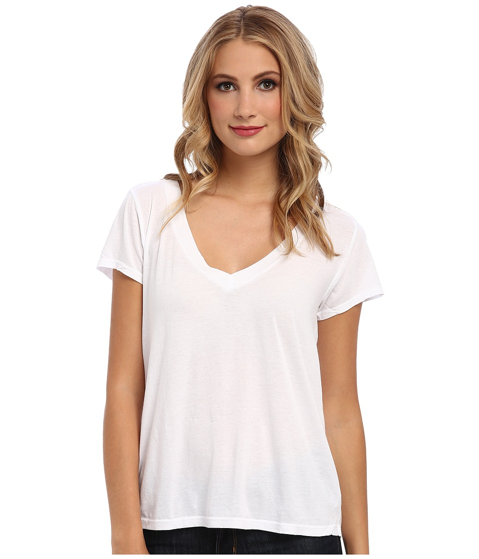 LAmade - Short-Sleeve Low V-Neck Boyfriend Tee (White) Womens Short Sleeve Pullover