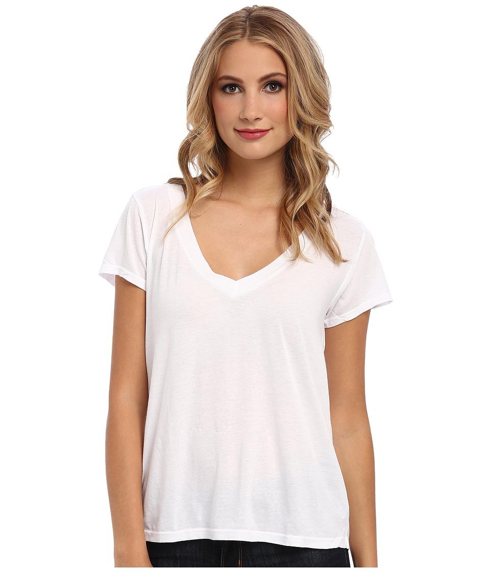 LAmade Short Sleeve Low V Neck Boyfriend Tee White Womens Short Sleeve Pullover