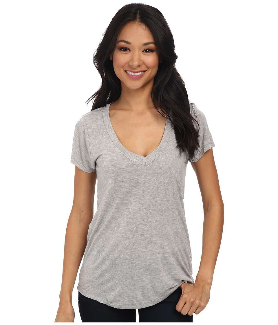 LAmade Short Sleeve Low V Neck Boyfriend Tee Heather Grey Womens Short Sleeve Pullover