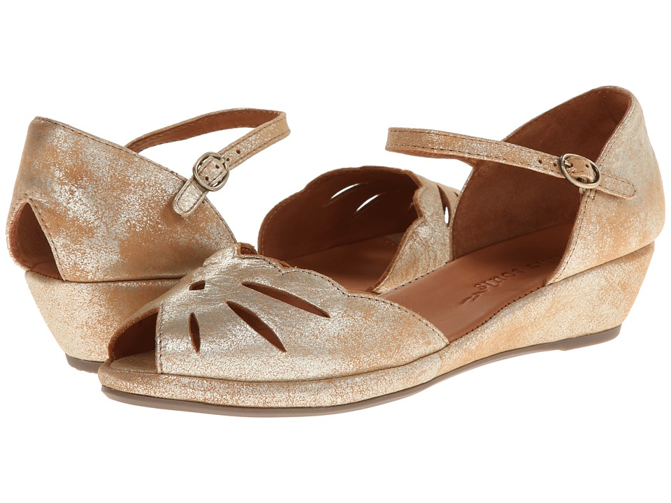 Retro Vintage Flats and Low Heel Shoes Gentle Souls - Lily Moon Gold Metallic Suede Womens Wedge Shoes $160.00 AT vintagedancer.com