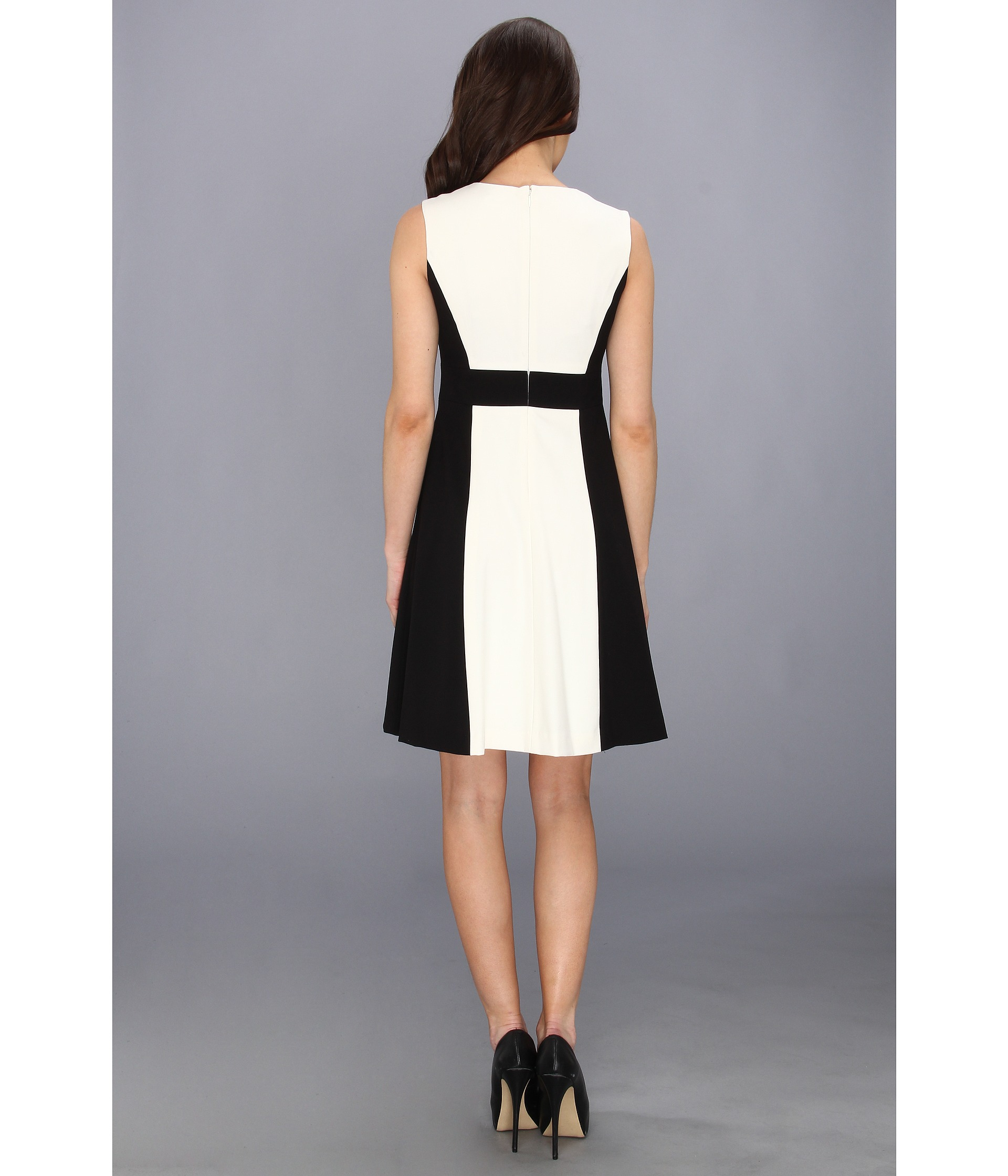 Calvin Klein V Neck Lux Colorblock Dress Cream Multi