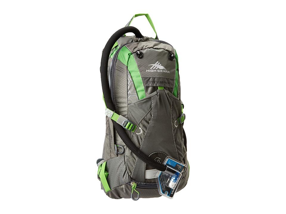 High Sierra Piranha 10L Hydration Pack Charcoal/Kelly Backpack Bags
