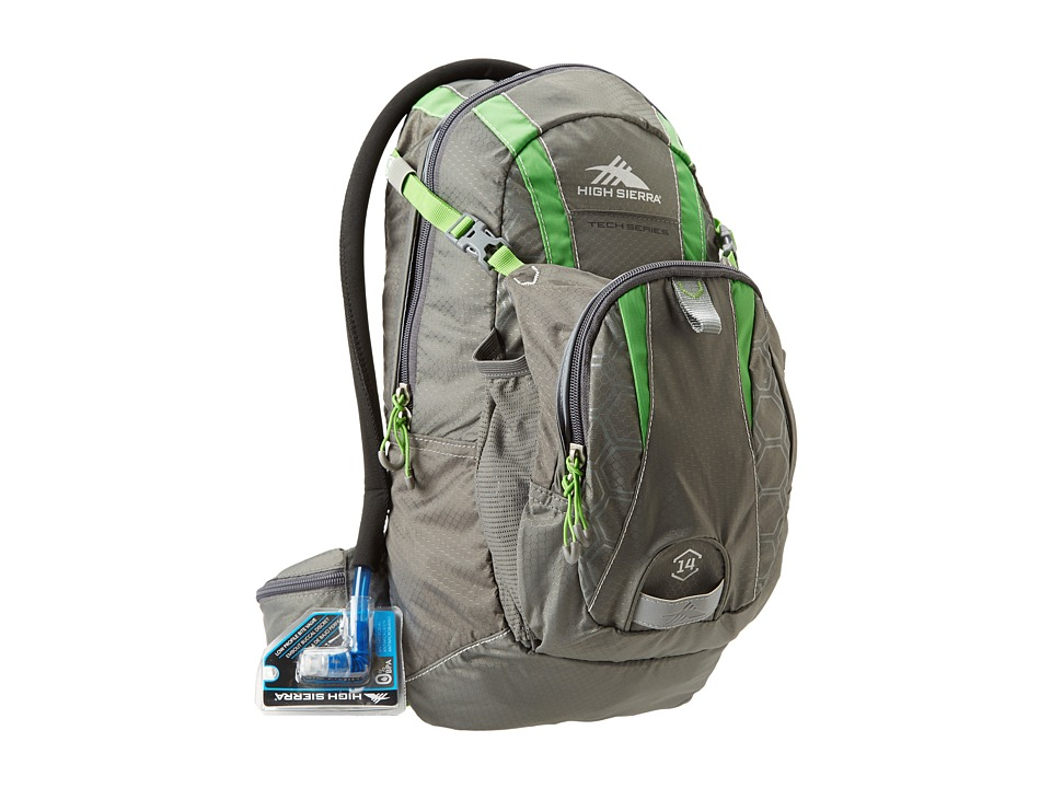 High Sierra - Wahoo 14L Hydration Pack (Charcoal/Kelly) Backpack Bags