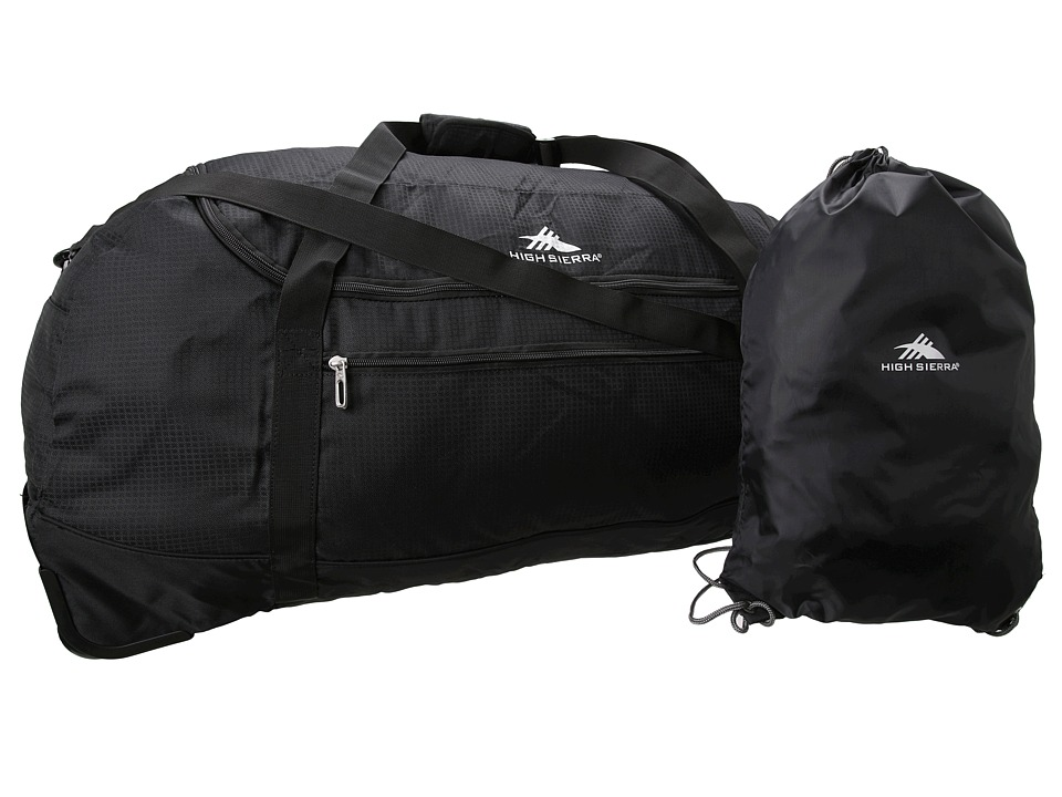 High Sierra 36 Wheel n Go Duffel Black Duffel Bags