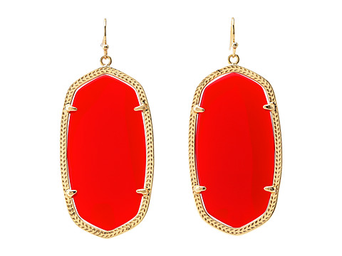 Kendra Scott Danielle Earrings - Gold/Bright Red Opaque Glass