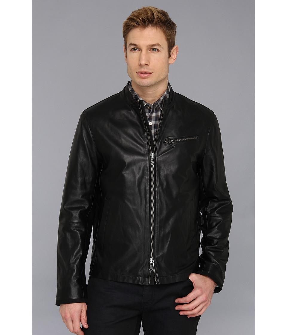 John Varvatos Star U.S.A. Moto Jacket w/ Canvas Details Black Mens Jacket