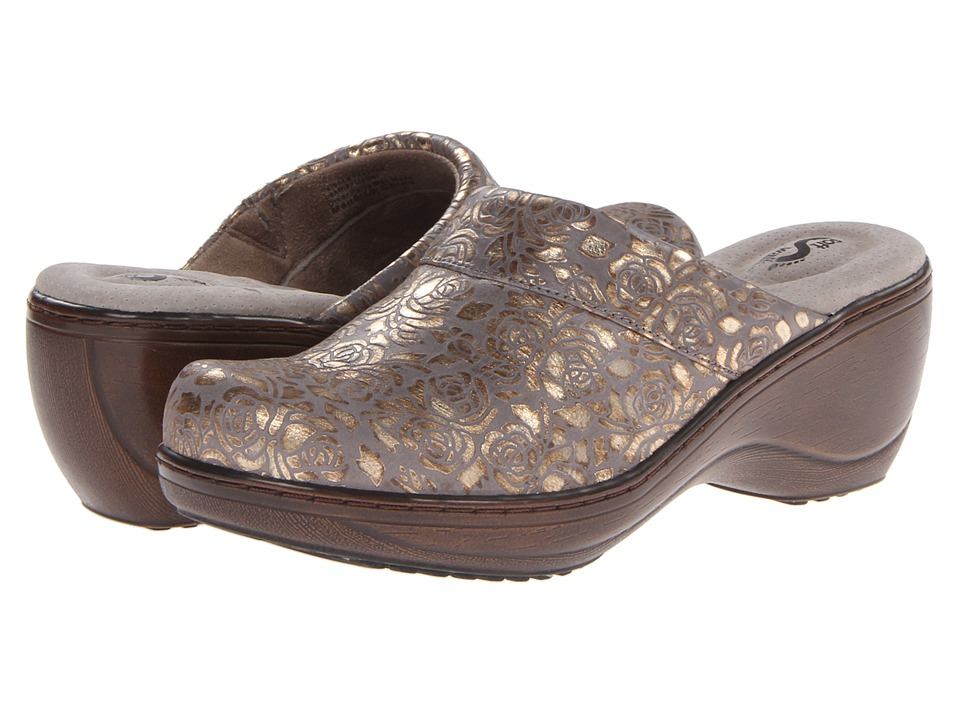 SoftWalk Murietta Grey/Gold Womens Clog Shoes