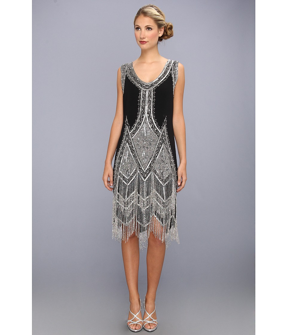 Unique Vintage Beaded and Embroidered Reproduction Flapper Dress Black/Silver Womens Dress