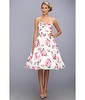 Unique Vintage - Coming Up Roses Strapless Swing Dress