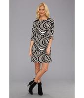 Eliza J  3/4 Sleeve Shift W/ Leather Trim At Shoulders Dress  image