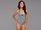 Unique Vintage - Dinah One-Piece Swimsuit (Black/White) - Apparel<br />