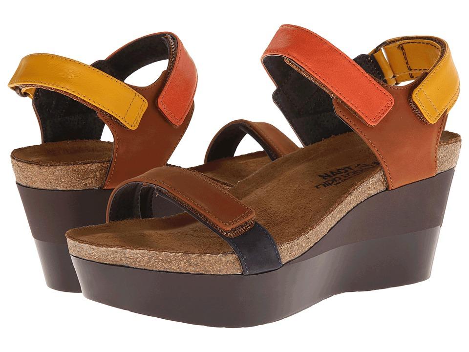 Naot Footwear - Miracle (Hawaiian Brown Nubuck/Orange Leather/Hawaiian Brown Nubuck/Navy) Women