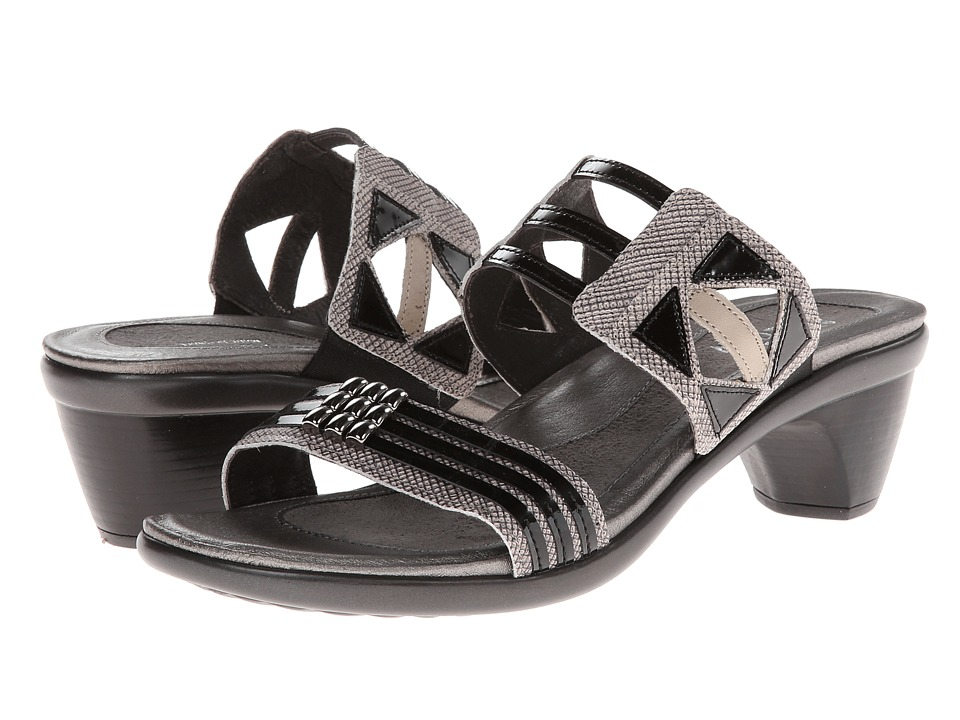 Naot Footwear Afrodita Fishnet Leather/Black Patent Leather/Linen Leather Womens Sandals