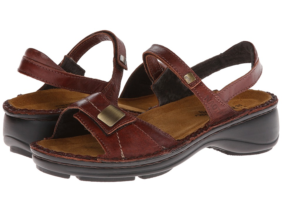 Naot Footwear Papaya Luggage Brown Leather Womens Sandals