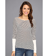 NYDJ - Striped Linen Blend V-Neck Top