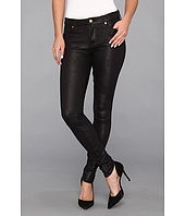 7 For All Mankind - The Knee Seam Skinny w/ Contoured Waistband in Crackle Leather-Like Black