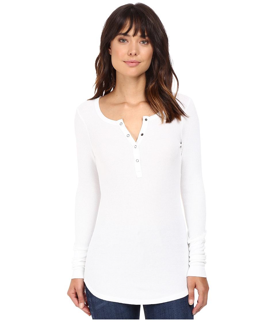 Splendid - Thermal Henley (White) Womens Long Sleeve Pullover