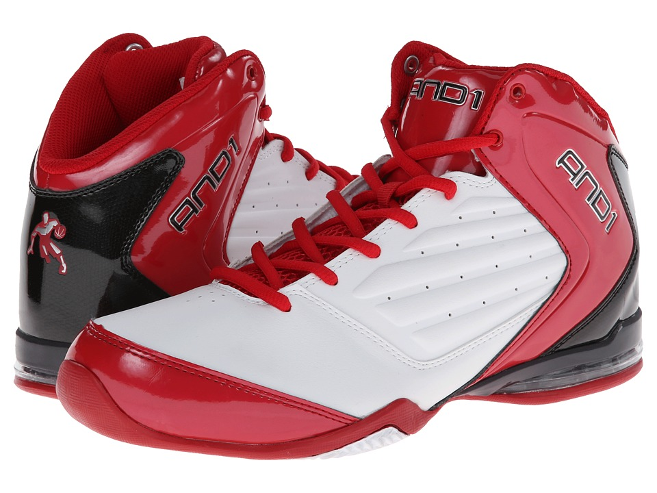 AND1 - Master 2 Mid (White/Varsity Red/Black) Men's Basketball Shoes