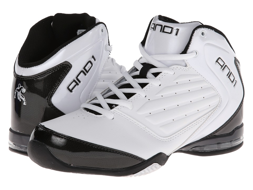 AND1 - Master 2 Mid (White/Black/Silver) Men's Basketball Shoes