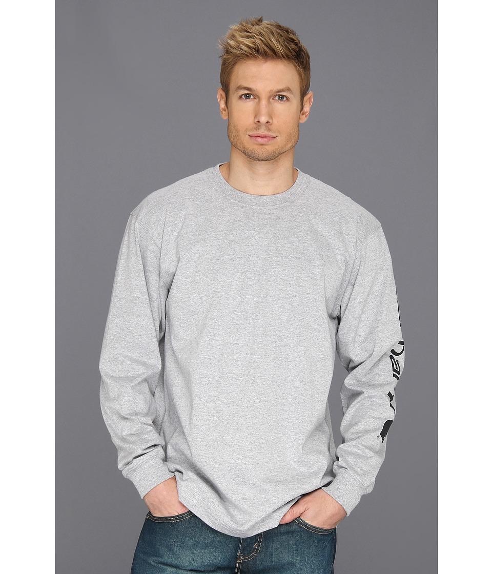 Carhartt men 39 s logo long sleeve tee shirt regular for Mens heather grey t shirt