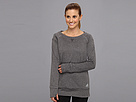 adidas - Boyfriend Terry Crew Top (Dark Grey Heather/Black) - Apparel
