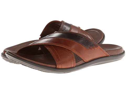 ECCO - Chander Cross Slide Sandal (Cognac/Coffee) - Footwear