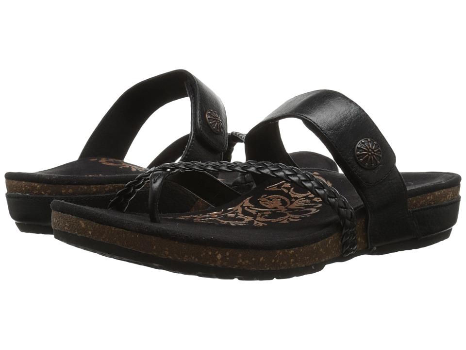 Aetrex Sandalista Lena Adjustable Thong Black Womens Sandals