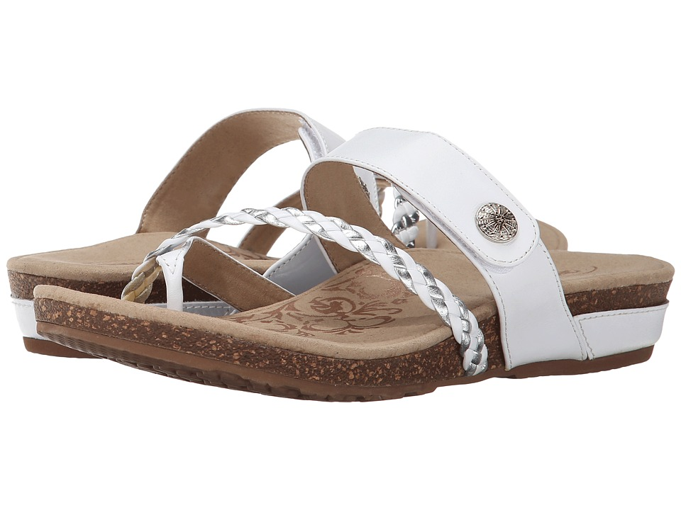 Aetrex Sandalista Lena Adjustable Thong White Womens Sandals