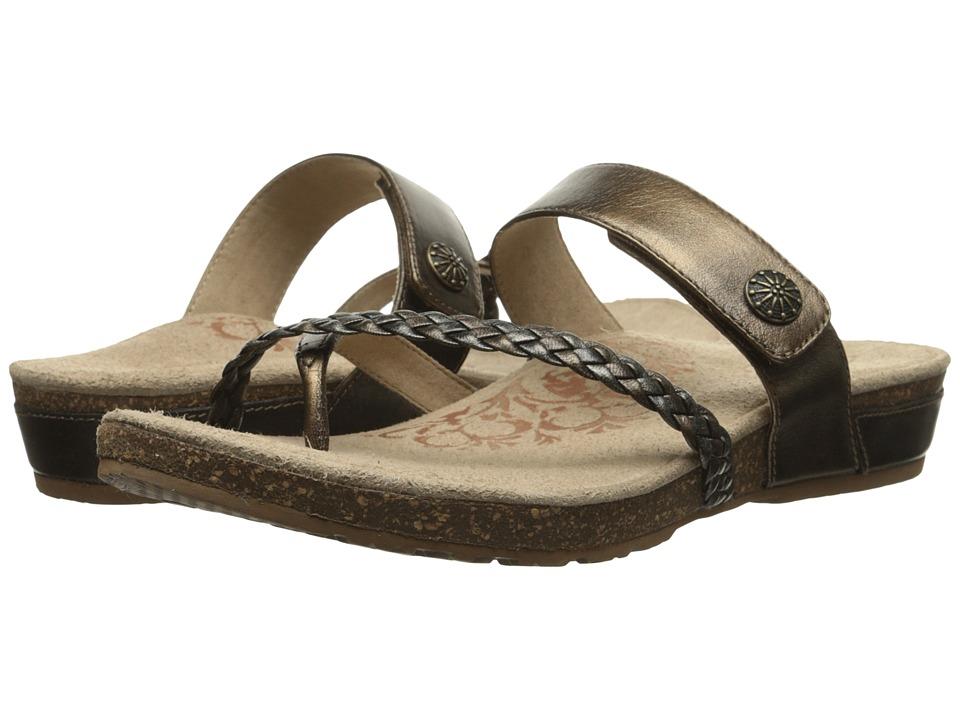 Aetrex Sandalista Lena Adjustable Thong Bronze Womens Sandals