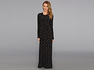 KAMALIKULTURE - L/S Crew Neck Maxi Dress (Black/Grey Weaving Coils) - Apparel